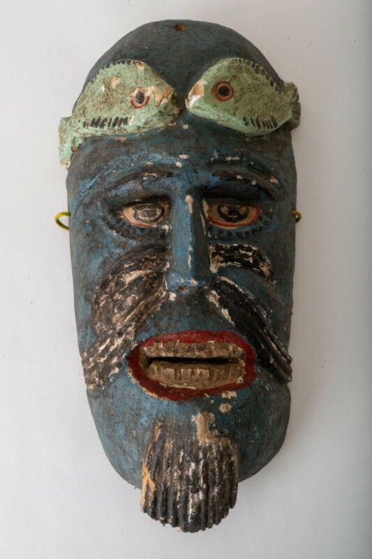Mexican Vintage Ritual Ceremonial Fish Man Mask Wall Art Wood