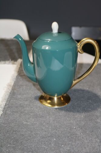 Flintridge China Teal Green Coffee Pot with Gold Trim