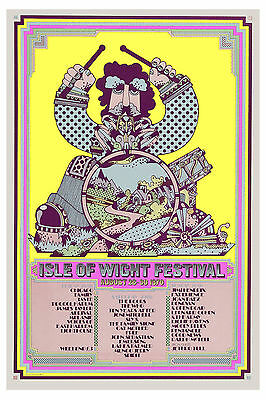 1960's Rock:  Jimi Hendrix & Others at Isle of Wight Concert Poster 1970