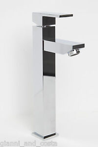 BATHROOM MIXER TAP - TALL SQUARE DESIGN - FOR BATHROOM BASIN VANITY