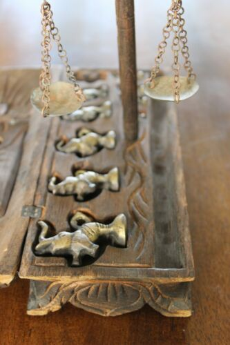Burmese elephant Opium weights with scale, in wooden case