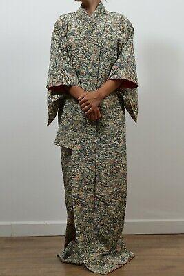 Authentic traditional vintage iro-muji Japanese rinzu silk kimono