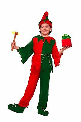 Child Xmas Santa Elf Costume Top Pant Hat Shoes Green Red Boys Girls Large 12-14