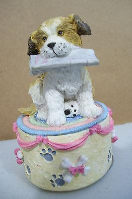 Westland Wind Up Puppy Dog Holding Bone Music Box Figurine
