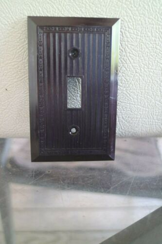 NOS Vintage Bakelite Single Wall Switch  NOS Switchplate Art Deco brown