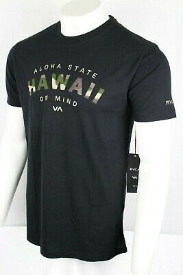 RVCA Men's Arc Hawaii T Shirt Slim Fit Vintage Wash Black M422PRAS