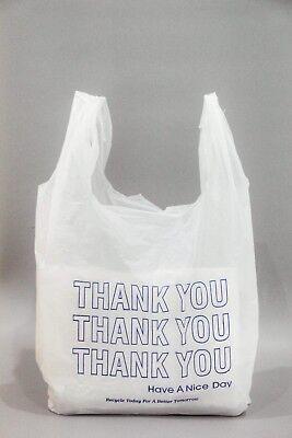 Thank You Blue T-shirt Bags 11.5 X 6 X 21 White Plastic Shopping Bag 1000