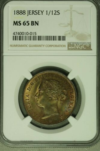 Jersey 1888 1/12 Shilling NGC MS65BN