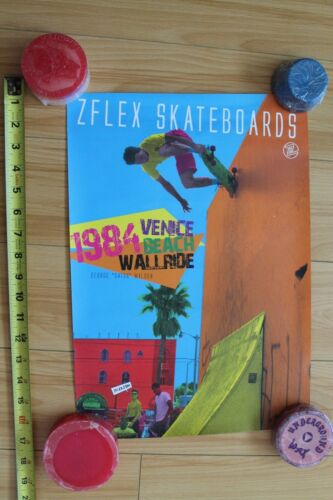 Z-Flex 1984 Venice Beach George Wilson Wall Ride Skateboarding 12x17in. Poster