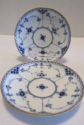 2 Royal Copenhagen BLUE FLUTED HALF LACE SAUCER Gold Trim 1/525-656-669 PRE 1923