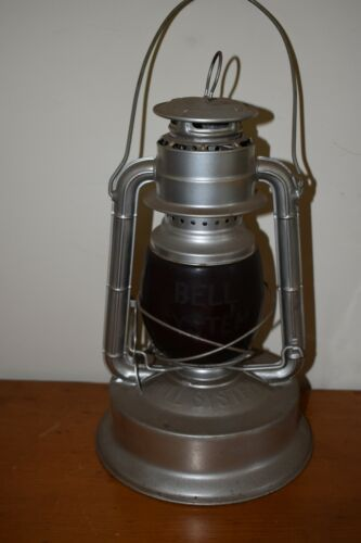 Fine Antique Dietz Bell System Linesman Lantern Etched Red Globe