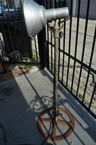 Vintage Original Benjamin Extendable Industrial Light Cast Iron Floor Lamp