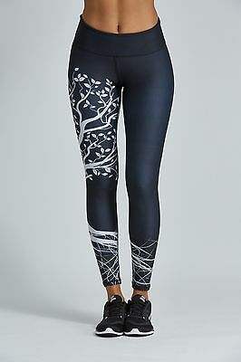 NOLI Yoga Black Tree LEGGINGS Workout PANTS Made in USA
