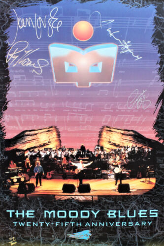 The Moody Blues hand signed large poster, Justin Hayward, Jon Lodge and G.Edge.