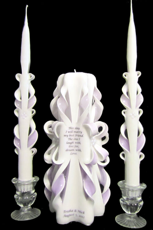 WOW! Custom *POEM* Wedding Unity Candles Set - YOUR colors, verse, Names & Date!