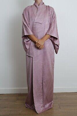 Authentic traditional vintage Japanese rinzu silk purple kimono