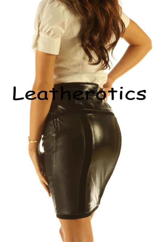 knee length leather skirt pencil style tight fit