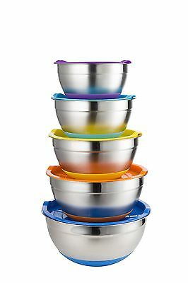 Set of 5 Stainless Steel Mixing Bowls With Lids Non Slip Bottom