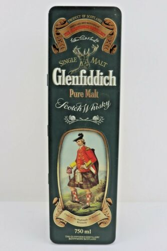 Glenfiddich Single Malt Scotch Whisky Tin Container Metal Box Vintage