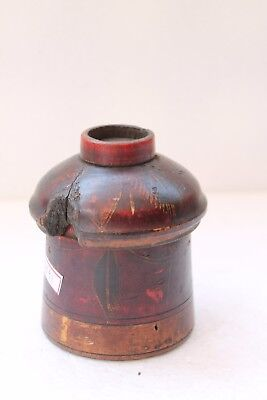 Vintage Hand Carved Lacquer Painted Wooden Kum Kum Powder Tikka Box NH3891