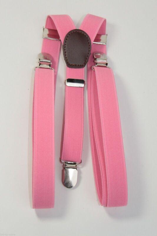 Pink Mens Women Clip-on Suspenders Elastic Y-shape Adjustable Braces New