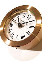 Tiffany clock, round. Alarm clock in brass with quartz movement. 2.75 diameter.