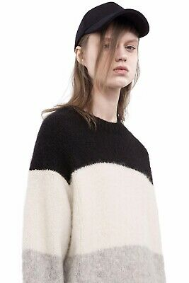 Acne Studios Alvah Alpaca PAW16 Striped Oversized Sweater. NWT. Black Multi. XS