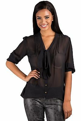 Poetic Justice Women's Black 100% Silk Georgette Front Tie Long Sleeve - Silk Georgette Long Sleeve Blouse