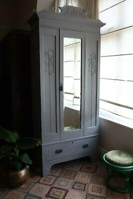 Farrow & Ball painted grey upcycled vintage antique Edwardian armoire wardrobe