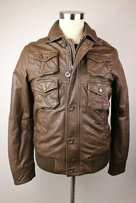 Mens Energie Gold Leather Jacket Brown Cargo Pocket Military Large Moto  for sale  Shipping to India