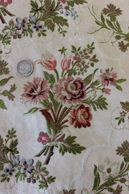 """French Antique Romantic Brocaded Rayon Home Dec Fabric c1910~17""""X18""""~18thC Style"""