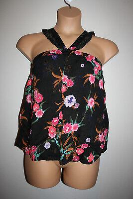 NEW Womens SOPHIE RUE Black Floral Print Lace Halter Swing Top Medium M NWT