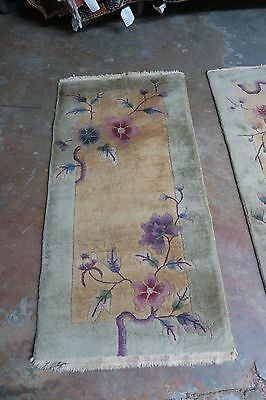 Antique Art Deco Chinese Hand Knotted Wool Rug  2' x 4' .