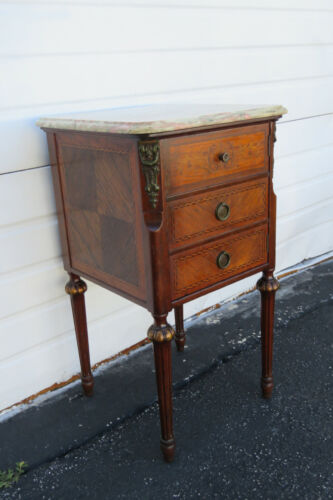 French Marble Top Tall Carved inlay Bronze Accent Nightstand Side End Table 1419