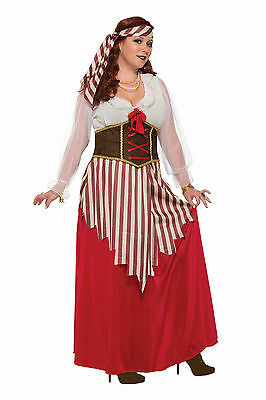 Womens Plus Size Pirate Wench Dress Costume Swashbuckler (Pirate Wench Kostüm Plus)