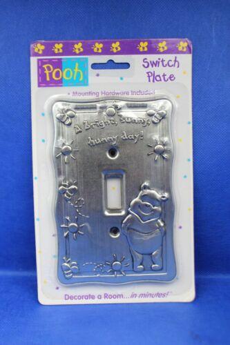 Vintage Disney Winnie the Pooh Light Switch Plate Silver Metal Rare w/ Hardware