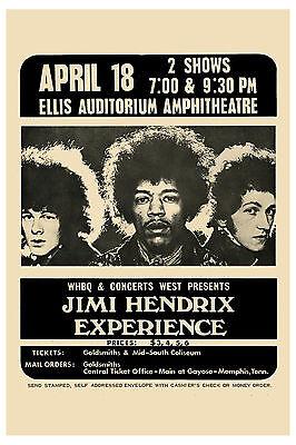 Rock: Jimi Hendrix Experience Memphis Ellis Auditorium Concert Poster '69