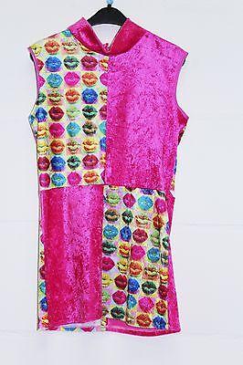 Girls 60's 70's Hot Lips Dress & Hat Ex Hire costume 152 cm (122) age 11-12](Shot Girl Costume)