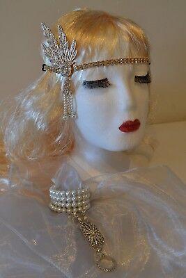 1920's Great Gatsby Gold Head Flapper Set + Pearl Daisy Ring Bracelet Weddings ()