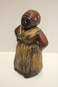Americana Antique Old  Cast Iron Mammy Jemima Doorstop Door Stop