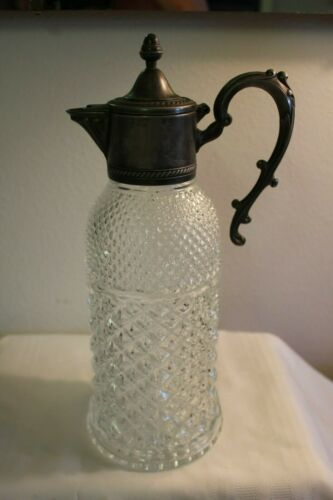 """VINTAGE GLASS Silverplate 13"""" Water Pitcher"""