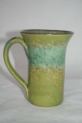 Jerry Beaumont Pottery Ohio Tall Green Latte Coffee Cup Mug 2011 EUC