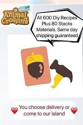 Animal Crossing New Horizons All 600 Diy recipes Plus Pick 80 Stacks Materials