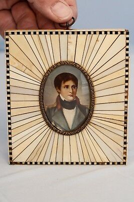 19th Century Handpainted Miniature Portrait of French Emperor Napoleon Bonaparte