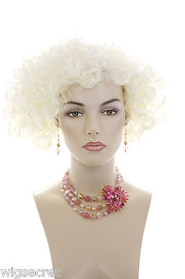 White Blonde Blonde Short Curly Wigs
