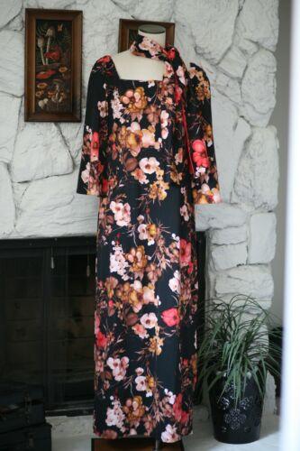 Vintage 70s Floral Maxi Hostess Dress - Large