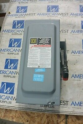 Square D H361n 30 Amp 600 Volt Fusible 3 Phase Indoor Disconnect Switch Used