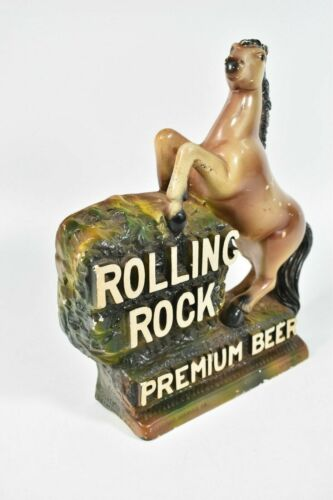 Vintage Rolling Rock Premium Beer Sign Chalk Wear Horse Statue Figure LaTrobe PA