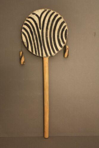 VINTAGE ZEBRA STRIPE AFRICAN MONKEY HAND DRUM PERCUSSION INSTRUMENT