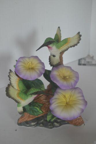 Vintage Porcelain Bird Hummingbird  Figure Purple Flowers